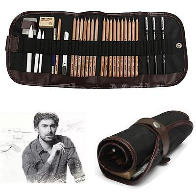 29Pcs Set Sketch Pencils Charcoal Extender Eraser Paper Pen Cutter Drawing Bag