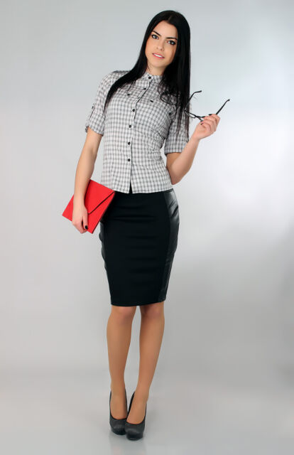 Women's Classic Pencil Skirt with Eco Leather Elegant Strip Sizes 8-16 FA135