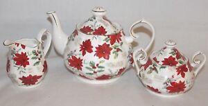 Grace-039-s-Teaware-Small-Poinsettia-Porcelain-Teapot-amp-Creamer-amp-Sugar-Bowl-Lid