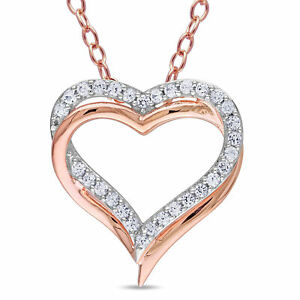 Amour Rose Plated Silver Created White Sapphire Double Heart Necklace