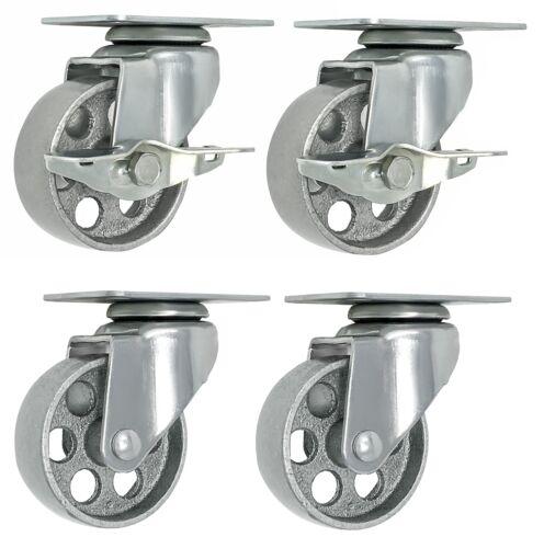 4 All Steel Swivel Plate Caster Wheels W Brake Lock Heavy Duty High-Gauge Steel