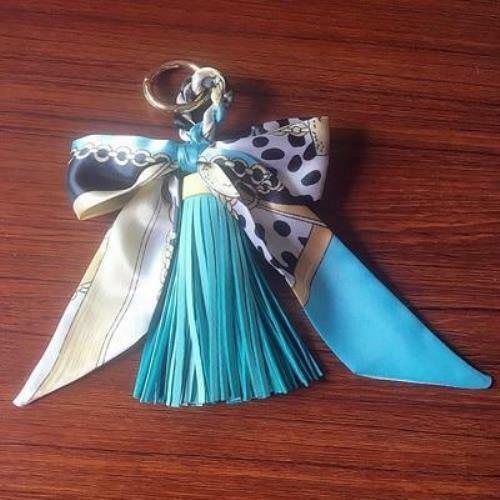Mini Scarf Bow Leather Keychain