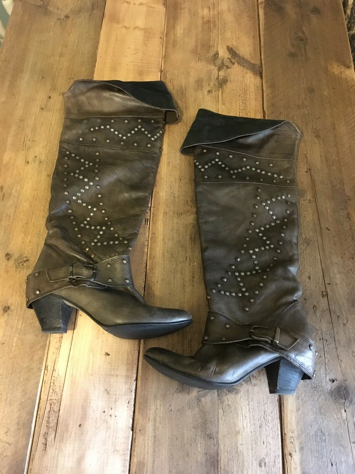 ️ Womens River Island Studded Brown Pirate Thigh High Boots Size 7  ️