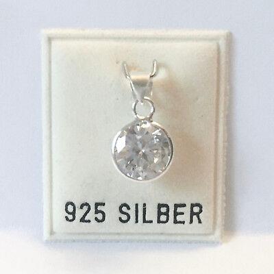 Echtschmuck Neu 925 Silber KettenanhÄnger 8mm Zirkonia Stein Kristallklar/klar AnhÄnger