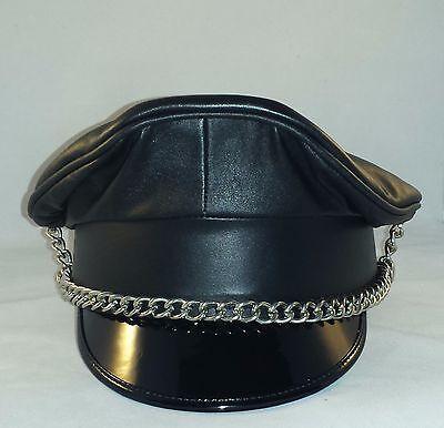 Aw 008 Cuir visiere avec chaîne, Biker Casquette officier casquette, Leather MUIR CAP | eBay
