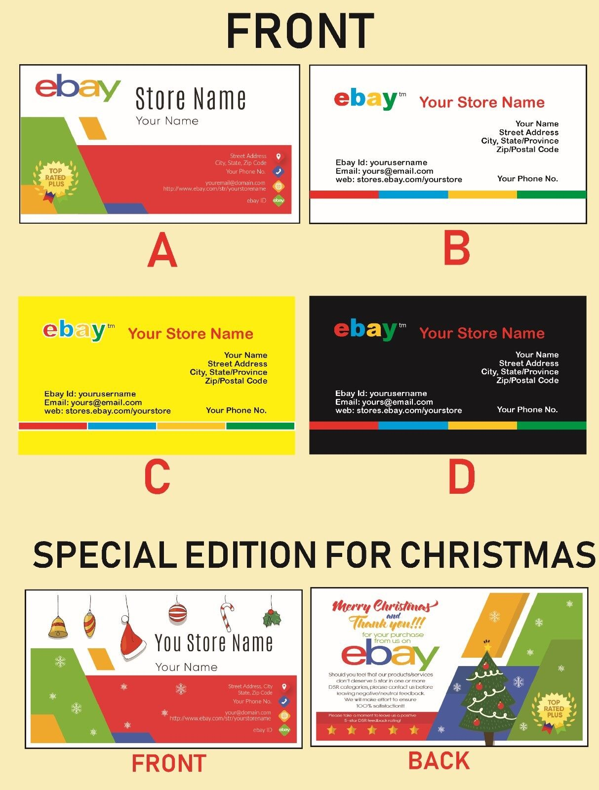 500 Ebay Seller Personalized Business Cards Glossy Or Matte Ebay