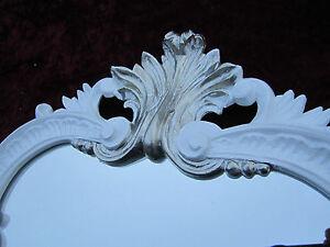 Espejos Espejo De Pared Blanco-plata Antiguo Barroca Retro 50x76 Shabby Prunk Vintage