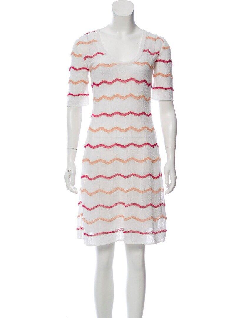 M Missoni Italien Weiß Strick Zick-Zack Streifen A-Linie Kleid Größe 44 8