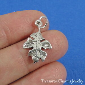925 Sterling Silver Oak Leaf Charm Autumn Fall Tree