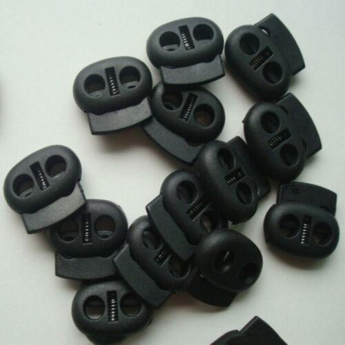 10X Shoe Lace Shoelace Buckle Rope Clamp Cord Lock Stopper Run Sports Black HU