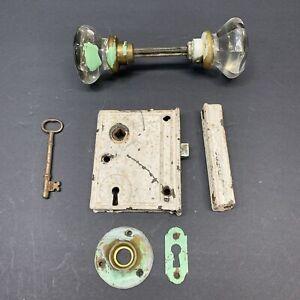Antique-Vtg-Rim-Lock-Set-Key-Plate-Striker-8-Point-Glass-Knobs-Door-Hardware