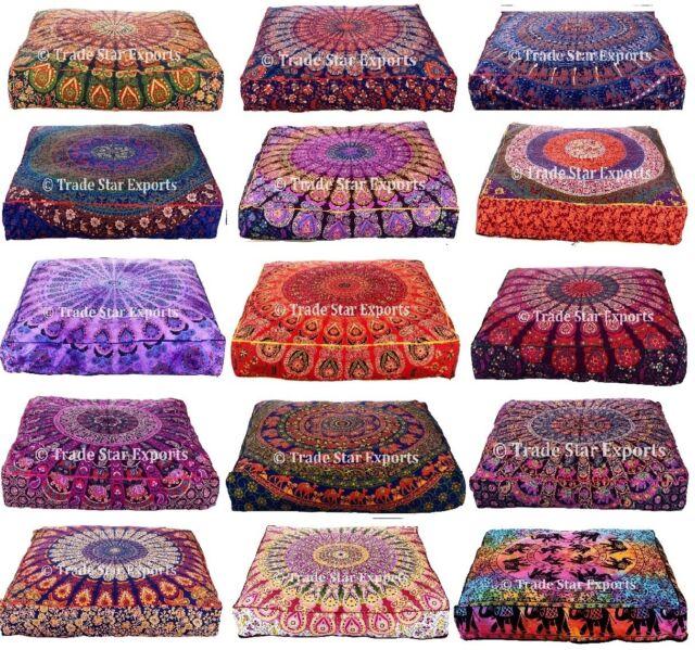 Indian Mandala Box Pillow Case Bohemian Meditation Throw Floor Cushion Cover Art