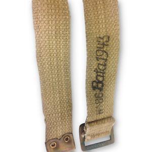 WW2-Khaki-37-Pattern-1943-dated-cross-pack-Webbing-straps-x2-World-War-Two-Brass