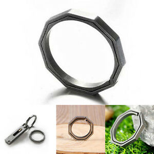 Titanium-TC4-Ti-Key-Chain-Octagon-Hanging-Buckle-Key-Ring-CNC-Survival-EDC-Tool