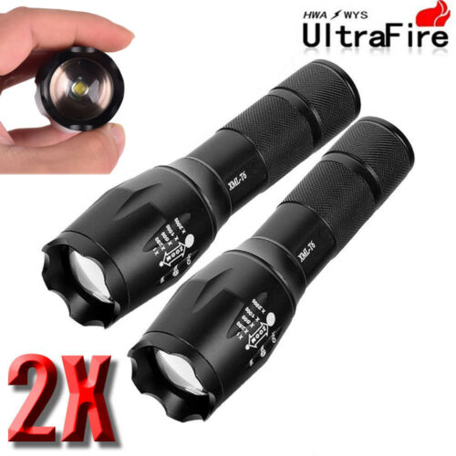 Ultrafire 50000LM T6 LED Flashlight Focus Police 18650 Battery+Torch Holder UK