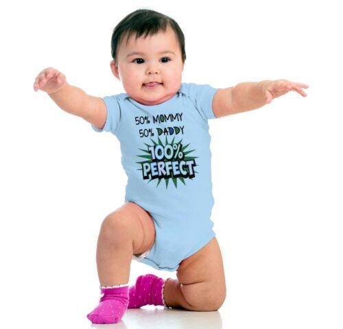 50 Mommy Half Daddy 100 Perfect Funny Shirt Cute Newborn Baby Gerber Onesies