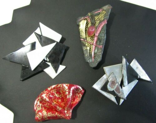 VINTAGE HANDCRAFTED ABSTRACT PIN LOT HEART TILE FU