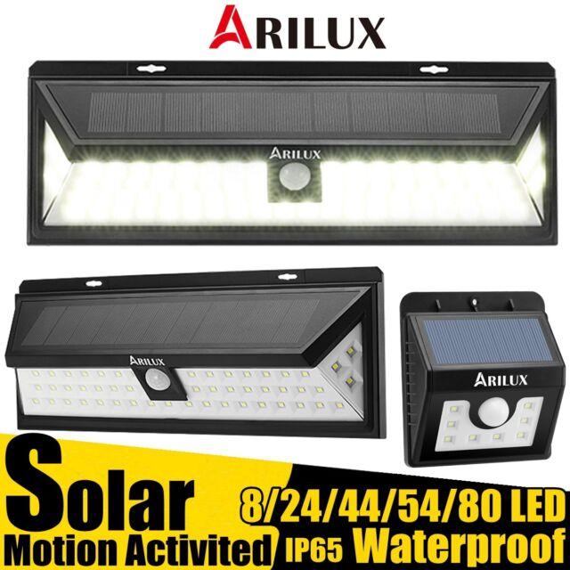 ARILUX 8~80 LED Solaire étanche Détecteur Mouvement Applique Murale Lampe Jardin