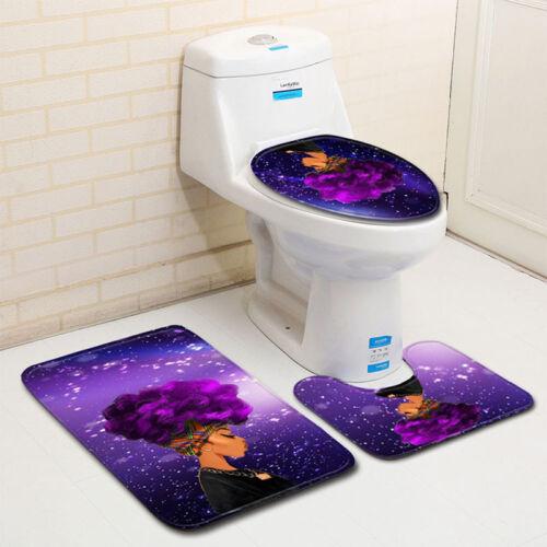 US 3African Girl Print Anti-slip Bath Mats Toilet Seat Mat 45*75;45*37.5;35*45cm