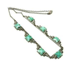 Art-Deco-Czech-Peking-Glass-Marcasite-Necklace-Vintage-Jewelry