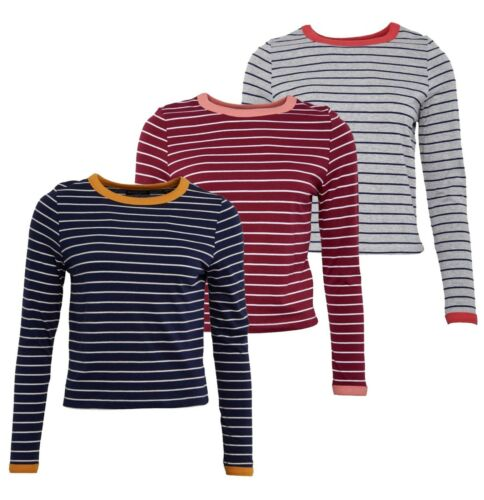 Ladies Brave Soul Cotton Crew Neck Top Long Sleeve T Shirt Sizes from 10 to 16