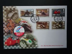 QEII Isle of Man TT 50th Anniversary official first day stamp cover with SHS