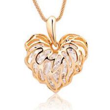 Gold Plated Fashion Women Heart Bib Statement Chain Pendant Necklace Jewelry