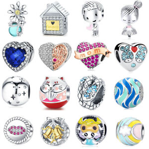 Women-Girl-New-European-Silver-CZ-Charms-Beads-Fits-925-Necklaces-Bracelet-Chain