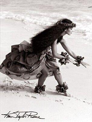 "Kim Taylor Reece ""Hula Kahiko II"" 11 X 14 Double Matted Hawaiian Hula Print -New"