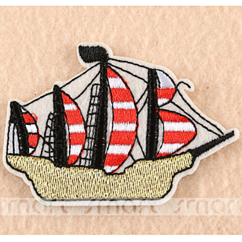 Embroidered Iron On Patches Sequin Sailboat Transfer Fabric Bag Clothes Applique