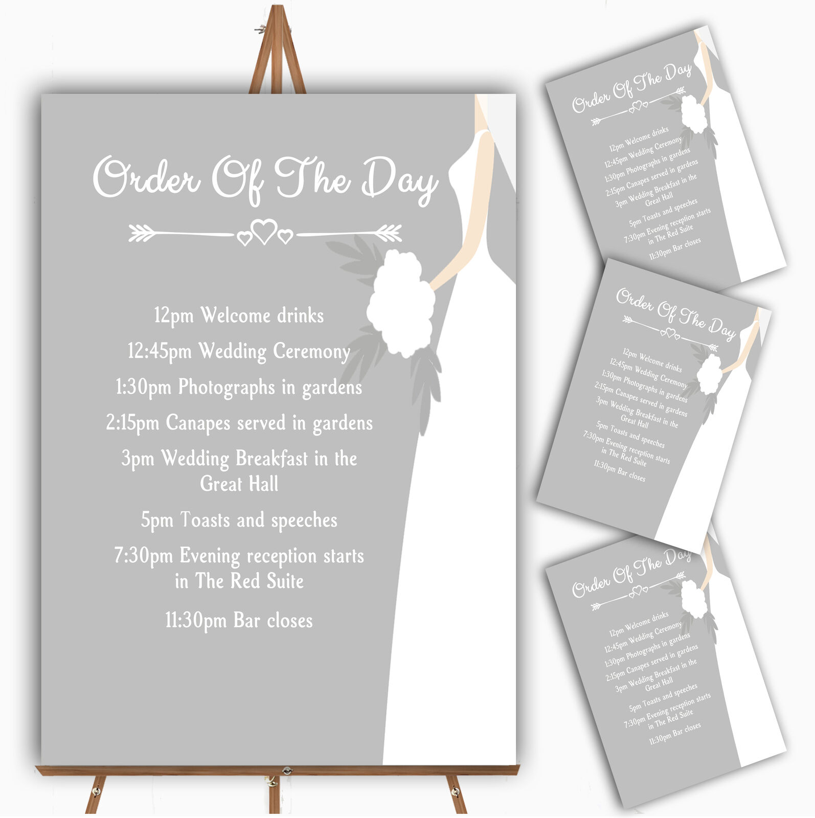 Great Weiß Bride Personalised Wedding Order Of The Day Cards & Signs