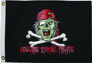 12x18-Beware-Zombie-Pirate-Flag-2-Sided-Nylon-WaterProof-New