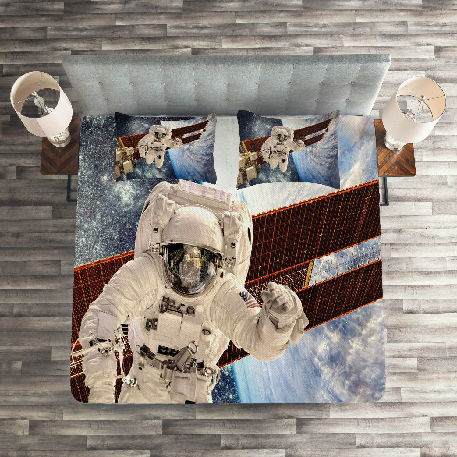 Outer Space Quilted Coverlet & Pillow Shams Set, Gravity Astronaut Print