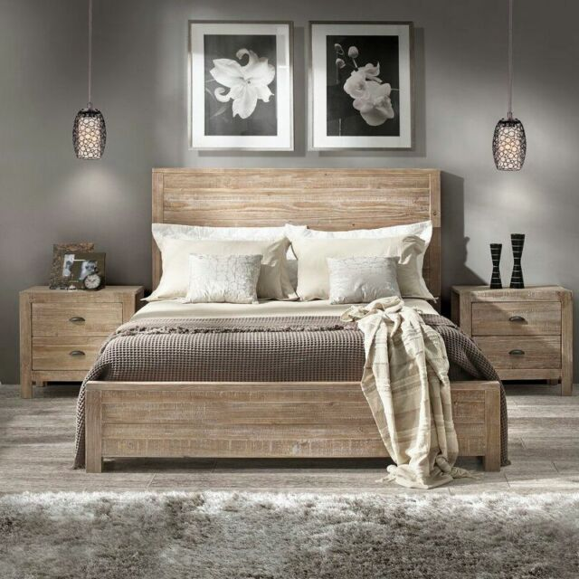 Rustic Platform Bed Frame King Size with Headboard Bedroom ...