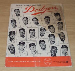 VTG 1958 Scorecard/Program~LOS ANGELES DODGERS~1st SEASON~Milwaukee~