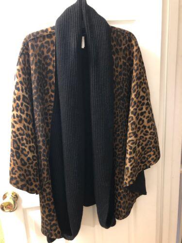Jones New York Signature Leopard Print Black Knit