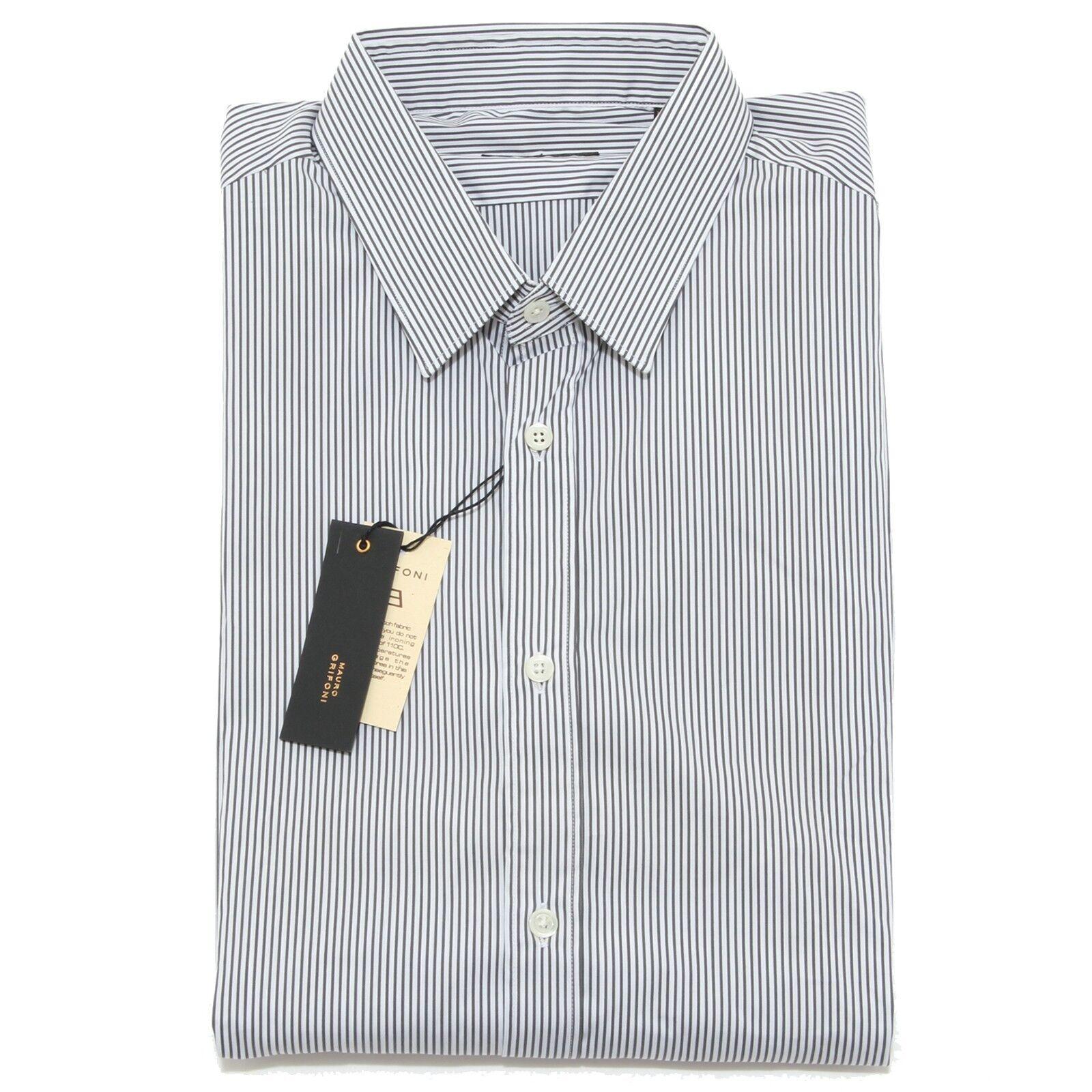 5718L camicia uomo MAURO GRIFONI righe grigie manica lunga shirts men