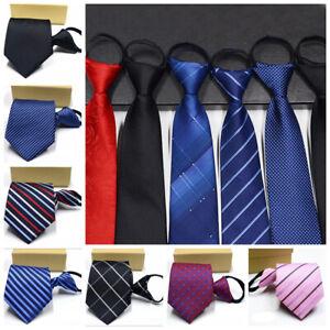 Lazy-Men-039-s-Zipper-Necktie-Solid-Striped-Casual-Business-Wedding-Zip-Up-Neck-Ties