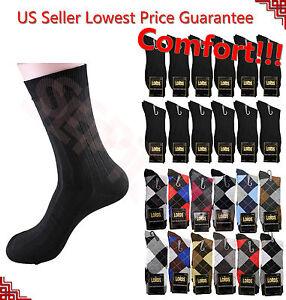 12-Pairs-LORDS-Mens-Argyle-Dress-Socks-Fashion-Casual-Cotton-Dozen-Size-10-13