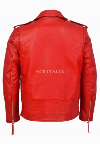 Brando Homme Rouge Classique Moto Motard Vachette Véritable Veste en cuir