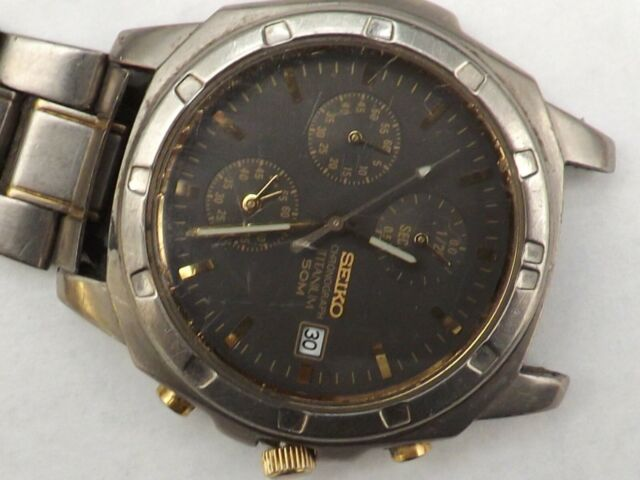a  gents stainless steel cased seiko titanium chrono watch spares/ repairs