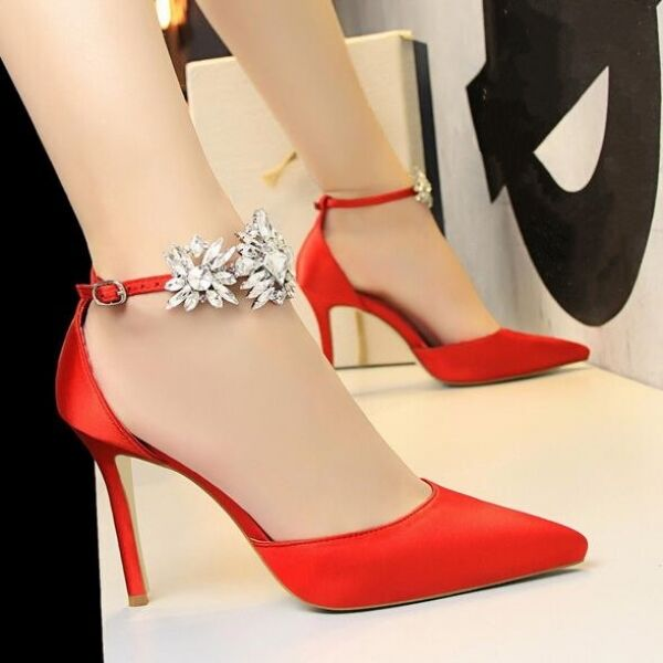Decolte sandali stiletto 9.5 eleganti rojo cinturino pelle sintetica CW714