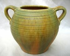 Camark Arkansas Pottery Vase/Urn Matt Combination Colors Orange Green Overflow
