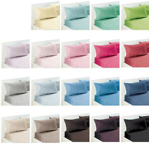 Image Is Loading 19 Color Choice 250tc Polyester Cotton Percale Sheet