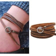 Engraved letters on Leather belt Wrap Bracelet cuff charm Wristband men women