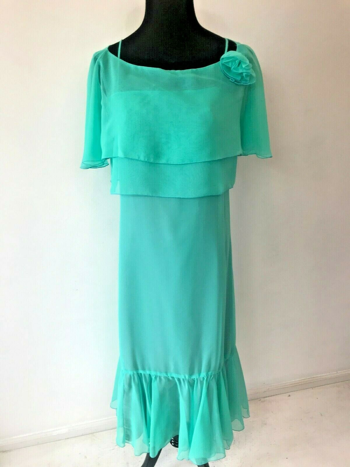 Vintage 1970s House of Bianchi Maxi Dress size S Mint Green Chiffon Prairie DS13