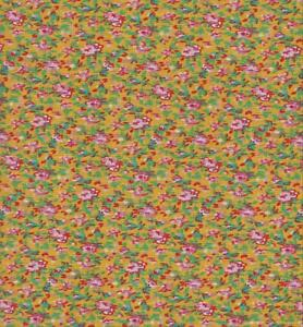 CRAFT FABRIC Looks like the old feed sacks Per Yard QC02 YELLOW FLORAL CALICO