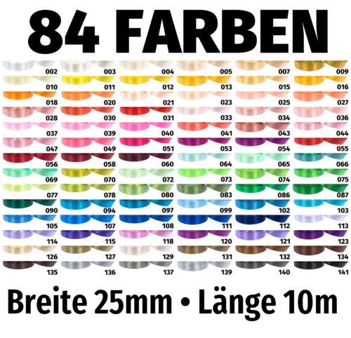 Geschenkband 10m x 25mm €0,299/M Satinband Schleife Band Dekoband Deko 84 Farben