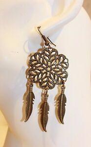 Ohrhaenger-NEU-Ohrringe-Bronze-Feder-Indianer-ethno-elegant-Modeschmuck-Boho