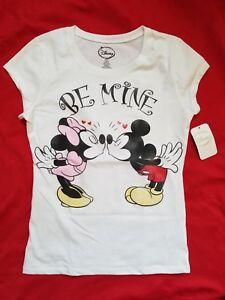 Minnie Mouse Kiss Kissing Mickey Ladies Juniors T Shirt Top  NWT New